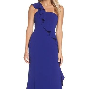 Vince Camuto One Shldr Ruffle Cascade Gown Cobalt